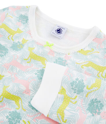 Pyjama petite fille en molleton blanc Marshmallow / blanc Multico