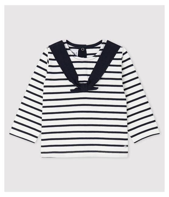 Marinière créative en jersey bébé fille blanc Marshmallow / bleu Smoking