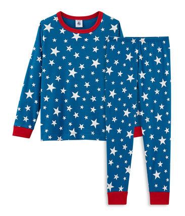 Pyjama petit garçon en côte bleu Major / blanc Ecume