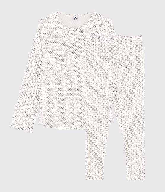 Pyjama fille à pois en côte blanc Marshmallow / bleu Medieval