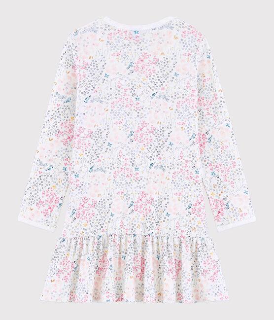 Chemise de nuit petite fille en côte blanc Marshmallow / rose Minois