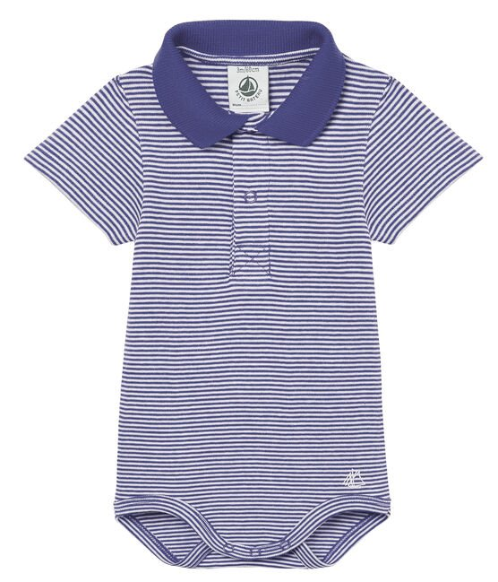 Body manches courtes col polo bébé garçon milleraies bleu Riyadh / blanc Marshmallow
