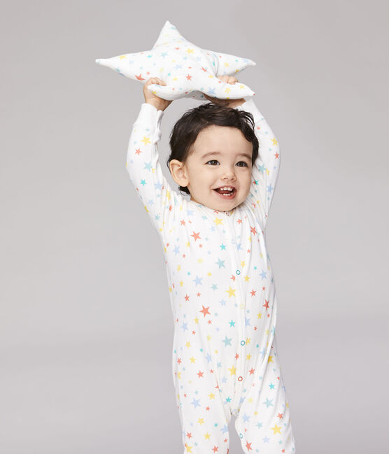 Dors bien sans pieds bébé en tubique blanc Marshmallow / blanc Multico
