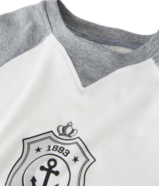 tee-shirtmanches longues garçon sérigraphié blanc Marshmallow / gris Subway