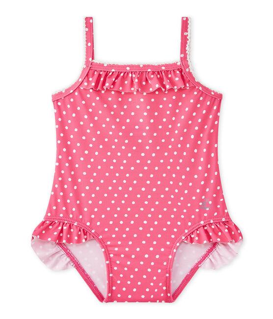 Maillot de bain bébé fille à pois rose Petunia / blanc Marshmallo