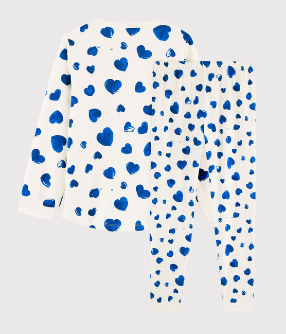 Pyjama cœurs bleus petite fille en molleton blanc Marshmallow / bleu Bleu