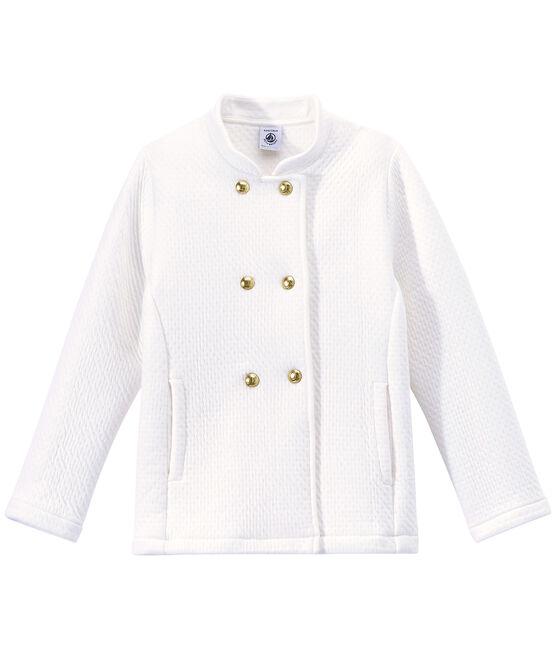 Manteau fille en tubique matelassé blanc Marshmallow