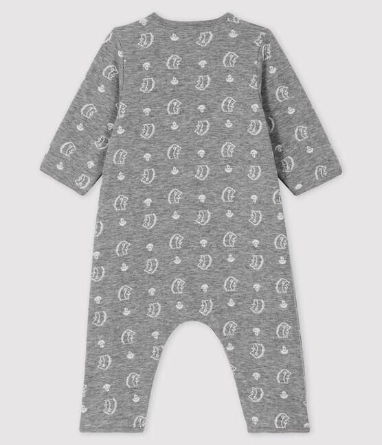 Combinaison longue jacquard à imprimé hérisson bébé en tubique gris Subway / blanc Marshmallow