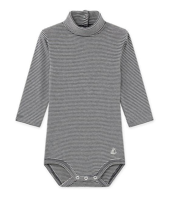 Body bébé mixte à col roulé rayé milleraies bleu Smoking / beige Coquille