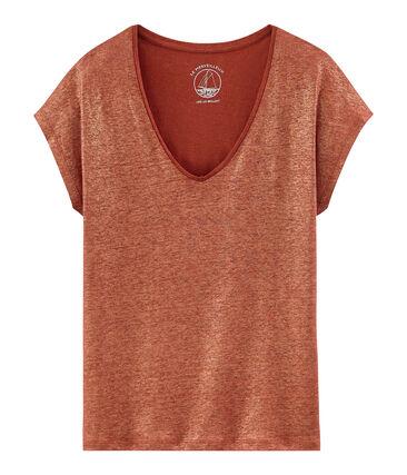 Tee-shirt manches courtes uni femme en lin irisé orange Ombrie / rose Copper