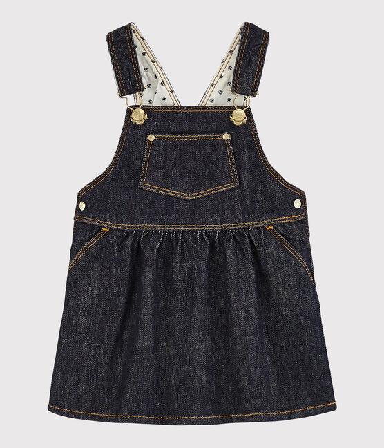 Robe salopette bébé fille en jean bleu Jean