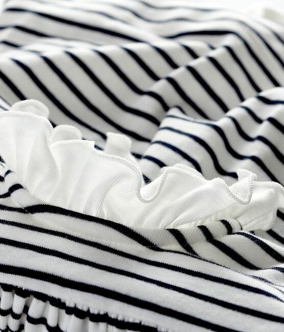 Robe body manches courtes bébé fille en côte blanc Marshmallow / bleu Smoking
