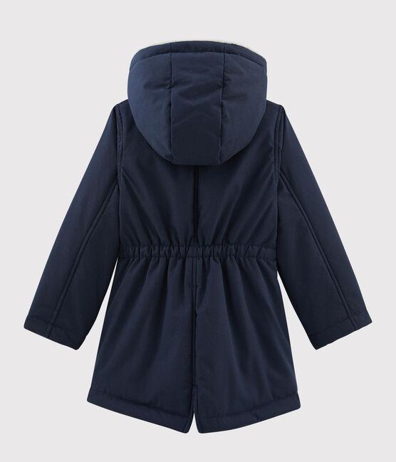 Parka en coton enduit enfant fille bleu Smoking