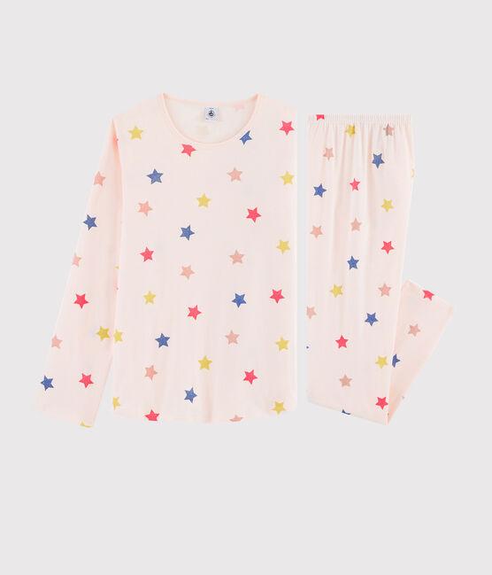 Pyjama fille imprimé étoiles en côte rose Fleur / blanc Multico