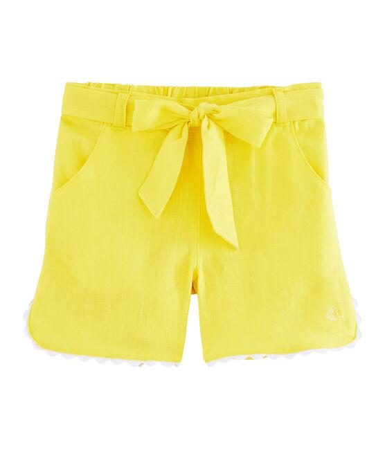 Bermuda enfant fille jaune Eblouis