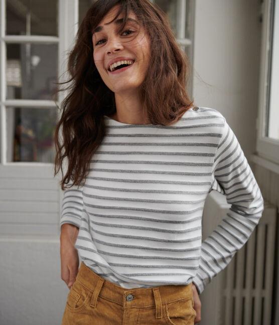 Marinière brillante Femme MARSHMALLOW/MARSHMALLOW ARGENT