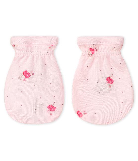 Paire de moufles bébé en côte rose Vienne / blanc Multico