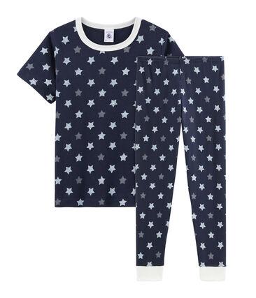 Pyjama manches courtes en côte, la matière emblématique de Petit Bateau. bleu Smoking / blanc Multico