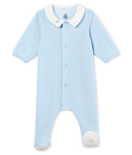 Dors-bien bébé garçon en velours de coton uni bleu Fraicheur