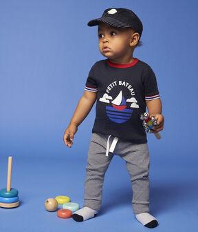 Casquette avec badge en bouclette bébé garçon bleu Smoking / blanc Marshmallow