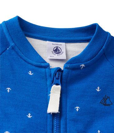 Cardigan bébé garçon en tubique bleu Delft / blanc Lait