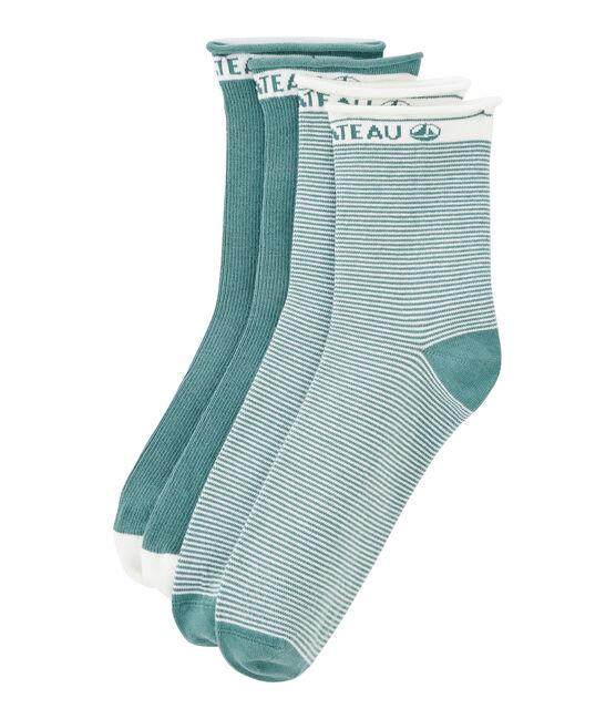 Lot de 2 paires de chaussettes femme bleu Brut