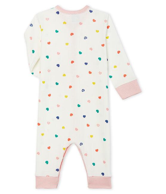 Dors bien sans pieds bébé fille en côte blanc Marshmallow / blanc Multico Cn