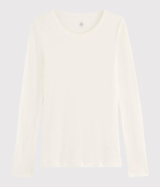 T-shirt laine et coton Femme blanc Marshmallow