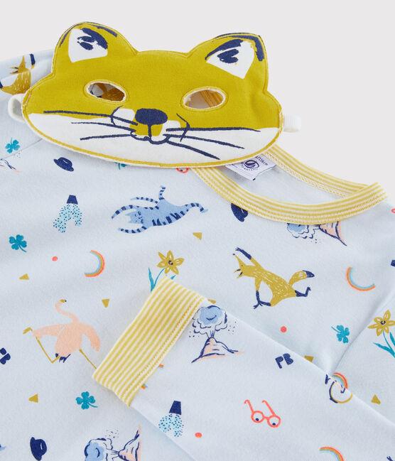 Pyjama déguisement renard petit garçon en côte bleu Fraicheur / blanc Multico