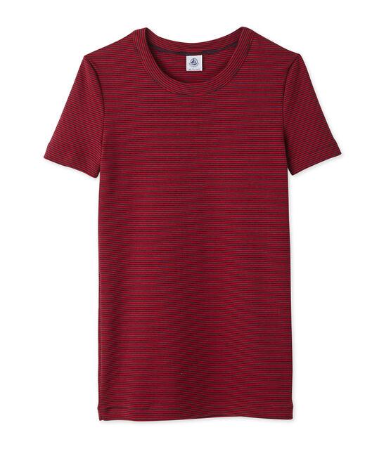 T-shirt femme rayé milleraies bleu Smoking / rouge Mars