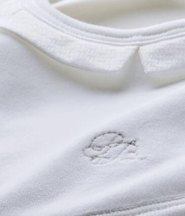 Bavoir bébé mixte en velours doublé blanc Ecume