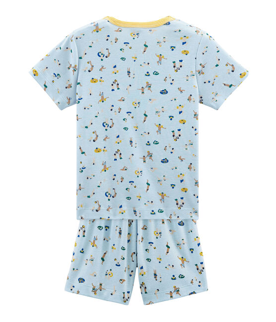 Pyjacourt petit garçon en côte bleu Toudou / blanc Multico