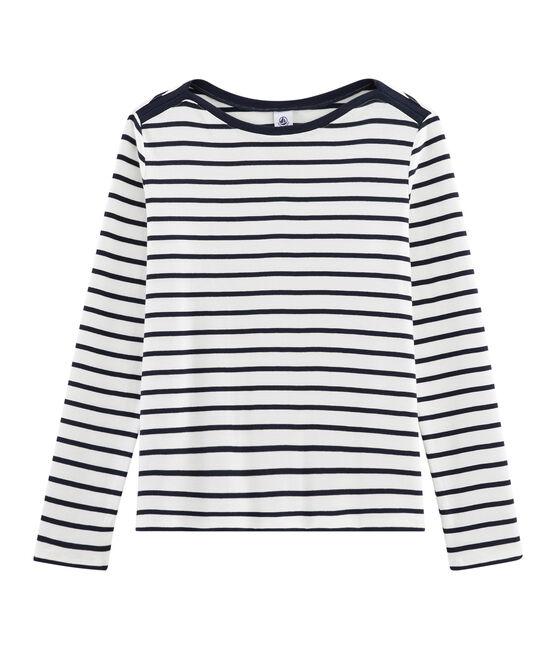 Tee shirt marinière femme blanc Marshmallow / bleu Smoking