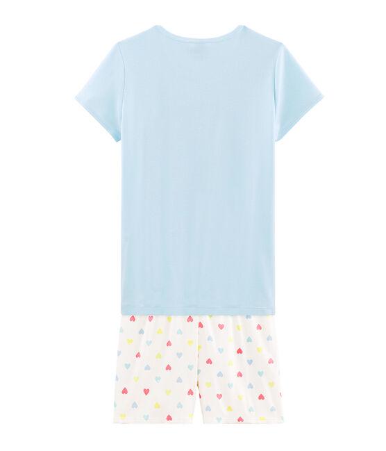 Pyjacourt fille en côte bleu Glacis / blanc Multico
