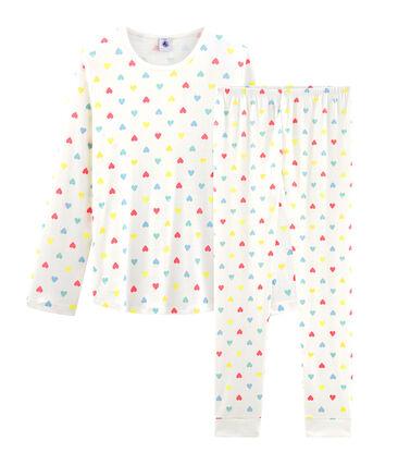Pyjama fille en côte blanc Marshmallow / blanc Multico