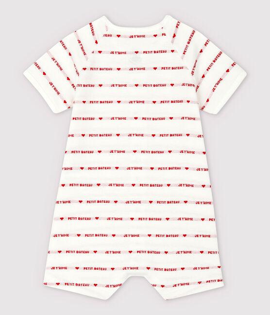 Combicourt Petit Bateau Je t'aime en jacquard en coton biologique blanc Marshmallow / rouge Peps