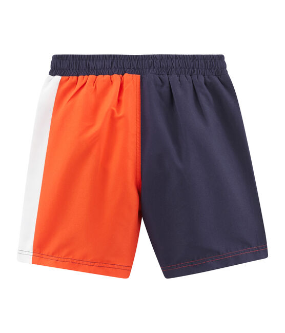 Short de plage effet colorblock enfant garçon bleu Touareg / orange Spicy