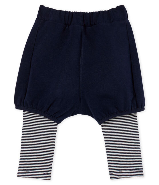 Legging avec short bébé fille bleu Smoking / blanc Marshmallow