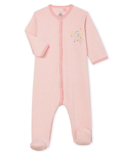 Dors bien bébé fille en côte rose Charme / blanc Marshmallow