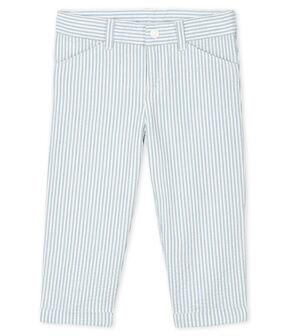 Pantalon bébé garçon en seersucker bleu Acier / blanc Marshmallow