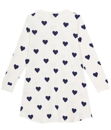 Chemise de nuit petite fille en côte blanc Marshmallow / bleu Medieval
