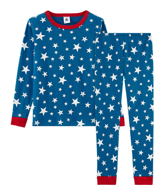 Pyjama petit garçon coupe très ajustée en côte bleu Major / blanc Ecume