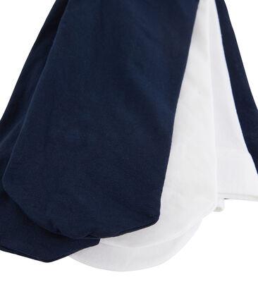 Lot de 2 paires de collants bébé fille bleu Smoking / blanc Marshmallow