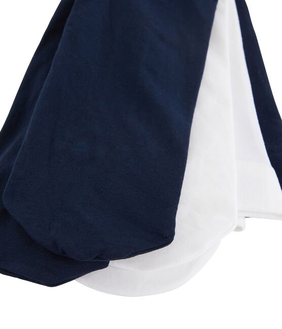 Lot de 2 paires de collants bébé fille bleu Smoking / blanc Marshmallow