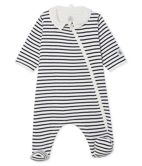 Bodyjama zippé bébé en côte blanc Marshmallow / bleu Smoking