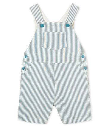 Salopette courte bébé garçon rayée bleu Fontaine / blanc Marshmallow