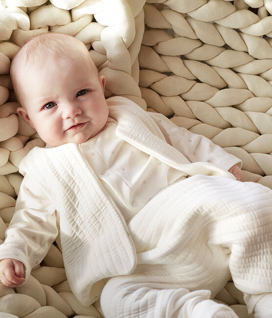 Ensemble trois pièces bébé en tubique blanc Marshmallow