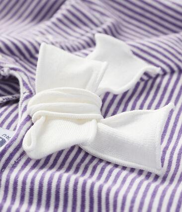 Tee shirt manches courtes bébé fille violet Real / blanc Marshmallow