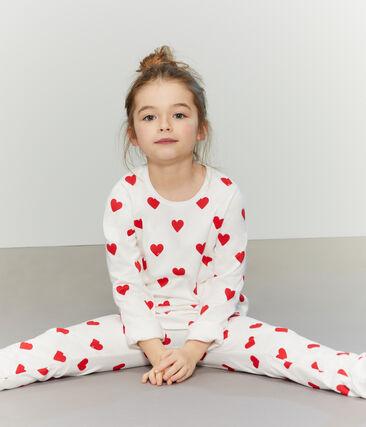 Pyjama coeur petite fille en molleton blanc Marshmallow / rouge Terkuit