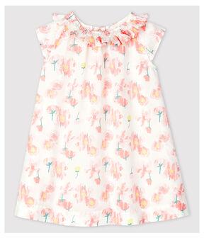 Robe manches courtes en popeline bébé fille blanc Marshmallow / blanc Multico